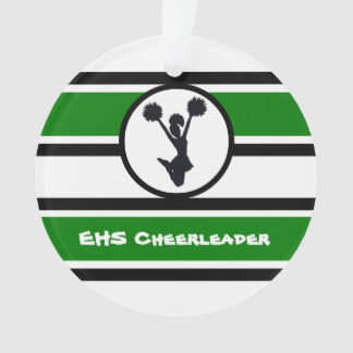 Personalized Green and Black Cheerleader Ornament