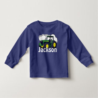 Personalized Green Farm Tractor Toddler T-Shirt