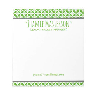 Personalized Green Polycross Notepad