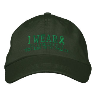 Personalized Green Ribbon Awareness Embroidery Embroidered Hats