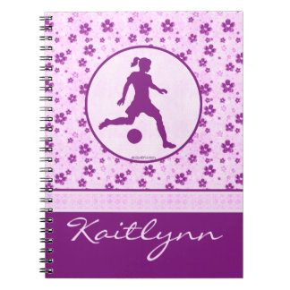 Personalized Gymnastics Purple Heart Floral Notebook