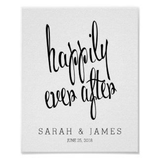 Personalized Happily Ever After Wedding Keepsake Poster