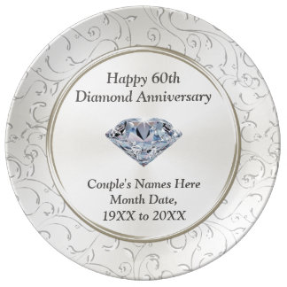 Personalised Wedding Anniversary Gifts Nz : Personalized Happy 60th Diamond Anniversary Plate Porcelain Plates