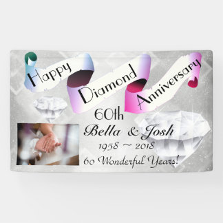Personalized Happy 60th Wedding Anniversary Banner