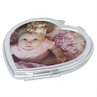 Personalized Heart Compact Mirror with Picture