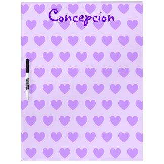 Personalized Heart Pattern Dry Erase Board