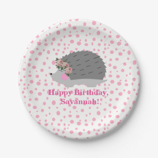 Personalized Hedgehog Birthday Paperplate Paper Plate