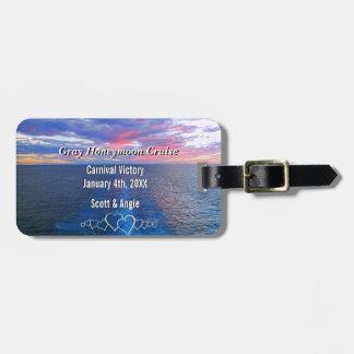 Personalized Honeymoon Cruise Photo Ocean Sunset Luggage Tag