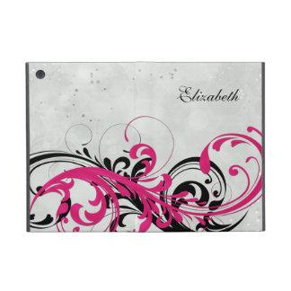 Personalized Hot Pink Black Floral iPad Mini Folio Covers For iPad Mini
