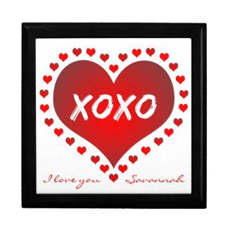 Personalized I Love You Hearts Keepsake Box