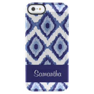 Personalized Indigo Blue Tribal Ikat White Chevron Clear iPhone SE/5/5s Case