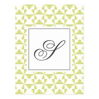 Personalized Initial Sage Pinwheels Postcard