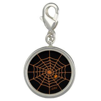 Personalized initials orange spider web