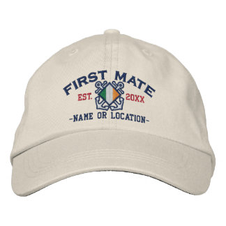 Personalized Irish First Mate Nautical Embroidery Embroidered Baseball Caps