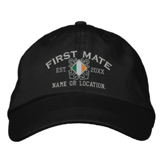Personalized Irish First Mate Nautical Embroidery Embroidered Hat