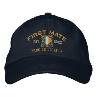 Personalized Irish First Mate Nautical Embroidery Embroidered Baseball Cap