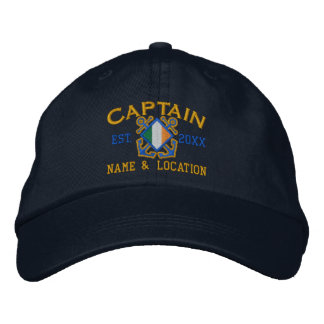 Personalized Irish Flag Anchors Captain Nautical Embroidered Baseball Caps