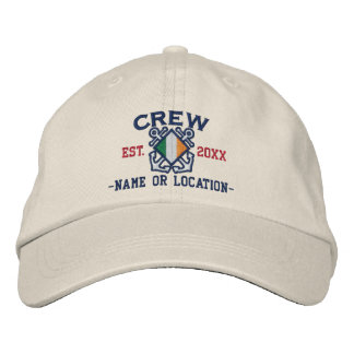 Personalized Irish Flag Crew Nautical Embroidery Embroidered Cap