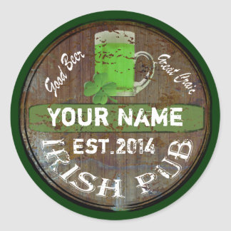 Personalized Irish pub sign Classic Round Sticker