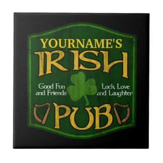 Personalized Irish Pub Sign Small Square Tile