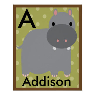 Personalized Jungle Hippo Wall Art Name Poster