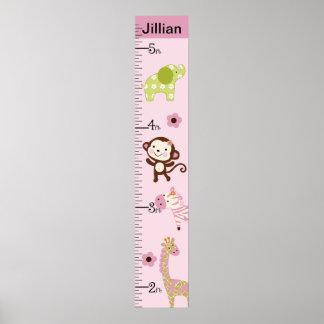 Personalized Jungle Jill/Girl Animals Growth Chart Poster