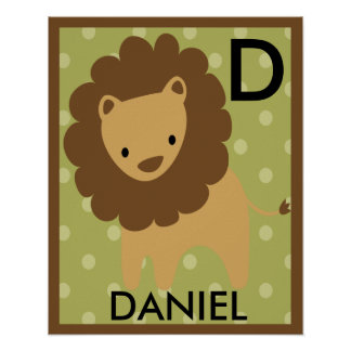 Personalized Jungle Lion Wall Art Name Poster