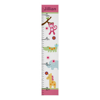 Personalized Lollipop Jungle/Animals Growth Chart Poster