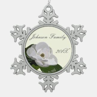 Personalized Magnolia Flower Christmas Snowflake Pewter Christmas Ornament