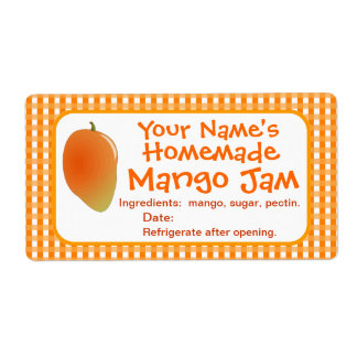 Personalized Mango Jam Canning Jar Labels Stickers