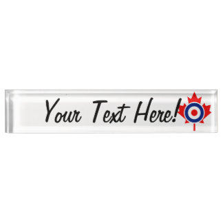 Personalized Maple Leaf Roundel Mod CANADA Desk Name Plate