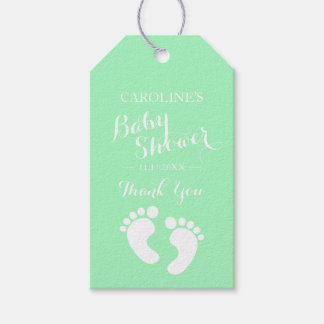 Personalized MINT Baby Feet BOY / GIRL Baby Shower Gift Tags