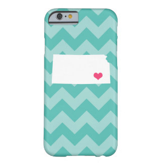 Personalized Modern Aqua Chevron Kansas Heart Barely There iPhone 6 Case