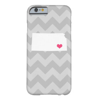 Personalized Modern Gray Chevron Kansas Heart Barely There iPhone 6 Case
