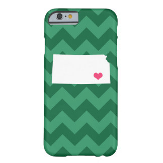 Personalized Modern Green Chevron Kansas Heart Barely There iPhone 6 Case