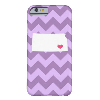 Personalized Modern Lilac Chevron Kansas Heart Barely There iPhone 6 Case