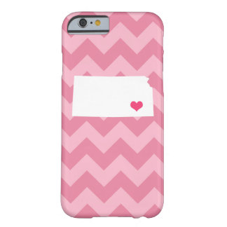 Personalized Modern Pink Chevron Kansas Heart Barely There iPhone 6 Case