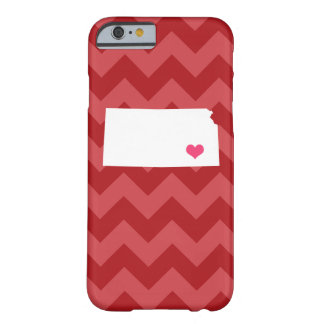 Personalized Modern Red Chevron Kansas Heart Barely There iPhone 6 Case