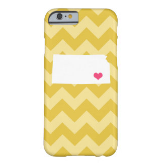 Personalized Modern Yellow Chevron Kansas Heart Barely There iPhone 6 Case