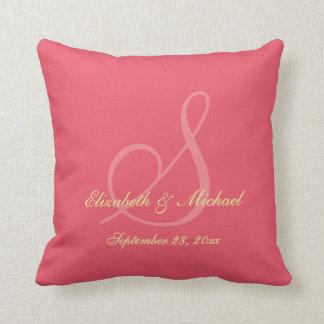 Personalized Monogram Bride Groom Wedding Pillow