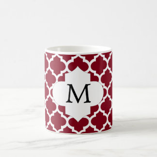 Personalized Monogram Burgundy Quatrefoil Pattern Coffee Mug