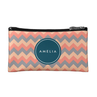 Personalized Monogram Chic Chevron Peach and Grey Makeup Bag