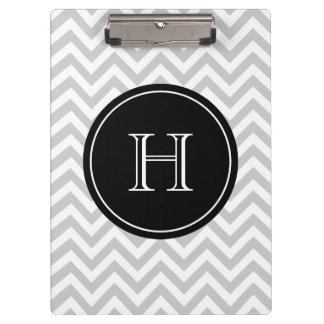 Personalized monogram clipboard with gray chevron