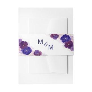 Personalized Monogram Floral Purple Plum Wedding Invitation Belly Band