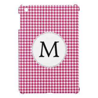 Personalized Monogram Fuchsia Houndstooth Pattern iPad Mini Cases