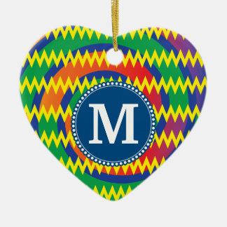 Personalized Monogram Funky Chevron and Swirls Christmas Ornament