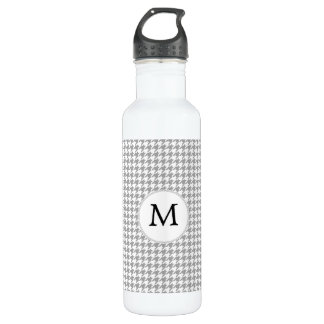 Personalized Monogram Gray Houndstooth Pattern 710 Ml Water Bottle