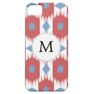 personalized monogram Ikat red and blue Case For The iPhone 5