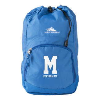 Personalized monogram initial blue travel backpack