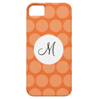 Personalized Monogram Initial Orange Polka Dots iPhone 5 Cover